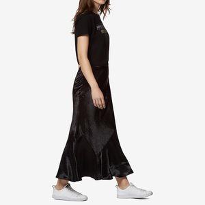 Avec Les Filles bias cut maxi satin skirt